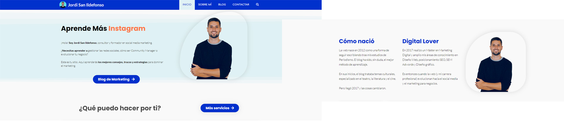 Jordi San Ildefonso, ejemplo de página web personal